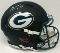 Aaron Rodgers Signed Green Bay Packers Full-Size Matte Black Speed Helmet (Fanatics Hologram) at PristineAuction.com