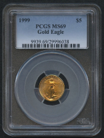 1999 $5 American Gold Eagle Saint-Gaudens - 1/10 Oz Gold Coin (PCGS MS 69) at PristineAuction.com