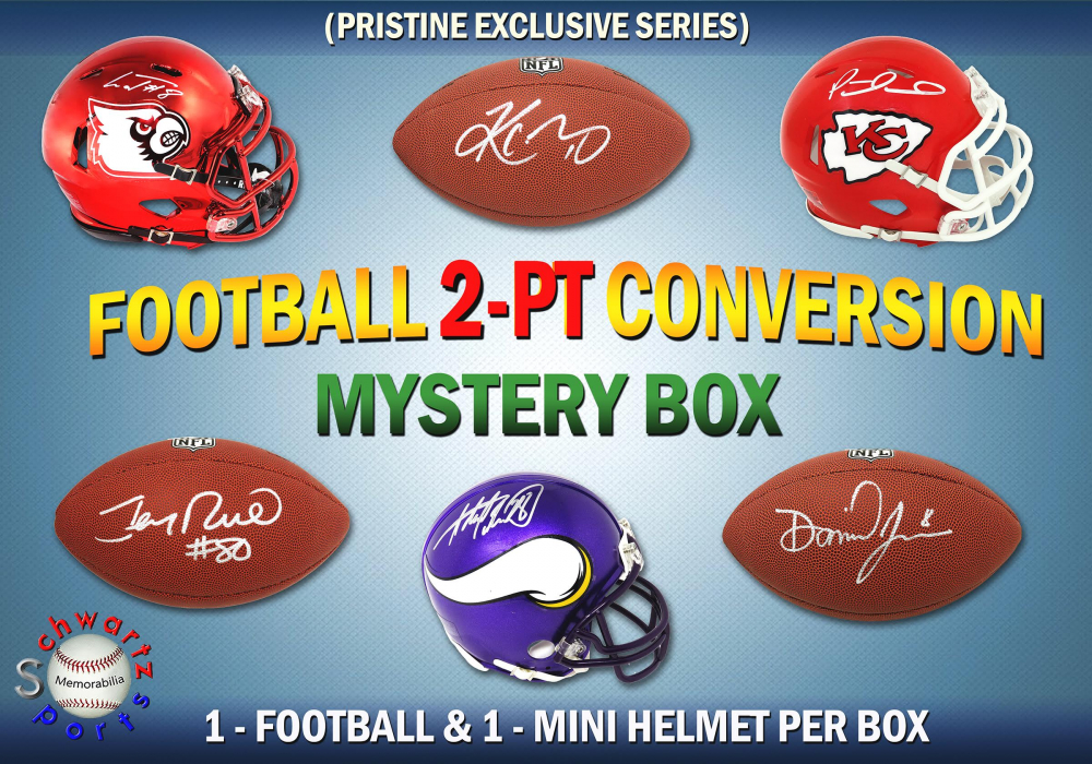 Schwartz Sports 2-Pt Conversion Full Size Football/Mini Helmet Signed Mystery Box - Series 4 (Limited to 100) (Pristine Exclusive Edition) at PristineAuction.com