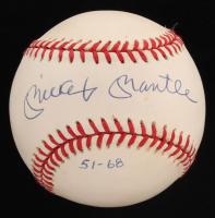 "Mickey Mantle Signed LE OAL Baseball Inscribed ""51-68"" (UDA COA) at PristineAuction.com"