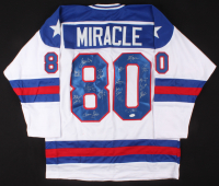 Team USA Jersey Team-Signed by (17) with Jim Craig, Mike Eruzione, Ken Morrow (JSA COA)