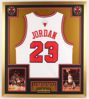 Michael Jordan 32x36 Custom Framed Jersey Display with (6) Championship Pins at PristineAuction.com