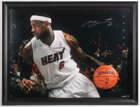 "Lebron James Signed LE Miami Heat ""Breaking Through"" 40.25x52x3.5 Custom Framed Photo Shadow Box Display with Mounted Official NBA Game Ball (UDA COA) at PristineAuction.com"