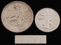 Lot of (3) .999 Fine Silver Bullion Items with (1) Vintage 1 Troy Ounce Round, (1) 1/2 Troy Ounce Walking Liberty Half-Dollar Round, & (1) Strip of (5) 1 Gram Bars