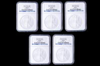 Lot of (5) 2010 American Silver Eagle $1 One Dollar Coins - Early Releases (NGC MS69)