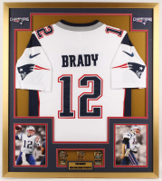 Tom Brady New England Patriots 32x36 Custom Framed Jersey Display with Championship Pins