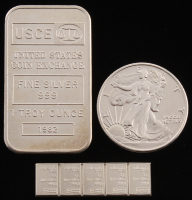 Lot of (3) .999 Fine Silver Bullion Items with (1) Vintage 1 Troy Ounce Bar, (1) 1/2 Troy Ounce Walking Liberty Half-Dollar Round, & (1) Strip of (5) 1 Gram Bars at PristineAuction.com