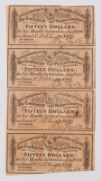 Uncut Sheet of (4) 1864 $15 Fifteen Dollar Confederate States of America Richmond CSA Bank Note Bonds at PristineAuction.com