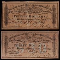 Lot of (2) 1864 Confederate States of America Richmond CSA Bank Note Bonds with (1) $15 Fifteen-Dollar Bond & (1) $30 Thirty-Dollar Bond