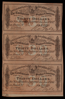 Uncut Sheet of (3) 1864 Confederate States of America Richmond CSA $30 Thirty-Dollar Bank Note Bonds