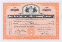 """Vintage 1942 """"The Pennsylvania Raildroad Company"""" (2) Shares Stock Certificate at PristineAuction.com"""