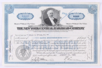 """Vintage 1942 """"The New York Central Raildroad Company"""" (100) Shares Stock Certificate at PristineAuction.com"""