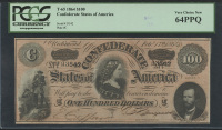 1864 $100 One Hundred Dollars Confederate States of America Richmond CSA Bank Note Bill (T-65) (PCGS 64) (PPQ) at PristineAuction.com