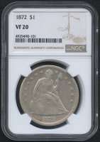 1872 $1 Seated Liberty Dollar (NGC VF 20) at PristineAuction.com