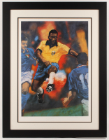 Pele Signed LE Team Brazil 27.5x35.5 Custom Framed Lithograph Display (JSA COA) at PristineAuction.com
