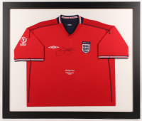 David Beckham Signed England 33.5x39.5 Custom Framed Jersey Display (JSA ALOA)