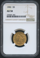 1902 $5 Five Dollars Liberty Head Half Eagle Gold Coin (NGC AU 58)