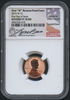 2019-W 1¢ Lincoln Cent - Reverse Proof - First Day of Issue - Union Shield - Lyndall Bass Hand-Signed Label (NGC Reverse PF 70 RD)