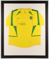 Ronaldo Signed Team Brazil 35.5x43.5 Custom Framed Jersey Display (JSA COA)