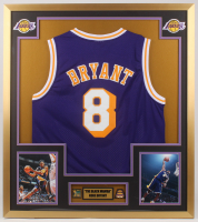 Kobe Bryant 32x36 Custom Framed Jersey Display with (2) Championship Pins