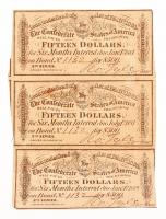 Uncut Sheet of (3) 1864 $15 Fifteen Dollar Confederate States of America Richmond CSA Bank Note Bonds