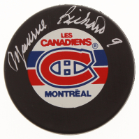 Maurice Richard Signed Montreal Canadiens Logo Hockey Puck (Beckett Hologram)