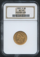 1892-S $5 Five Dollars Liberty Head Half Eagle Gold Coin (NGC AU 58)