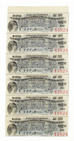 Uncut Sheet of (6) 1897 $17.50 Seventeen Dollars and Fifty Cents New York Central and Hudson River Railroad Company Bank Bonds