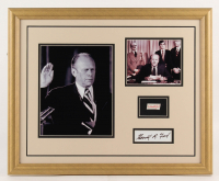 Gerald R. Ford 18x22 Custom Framed Cut Display with (1) Hand-Written Word from Letter (Beckett LOA Copy)