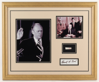 Gerald R. Ford 18x22 Custom Framed Cut Display with (1) Hand-Written Word from Letter (Beckett LOA Copy) at PristineAuction.com