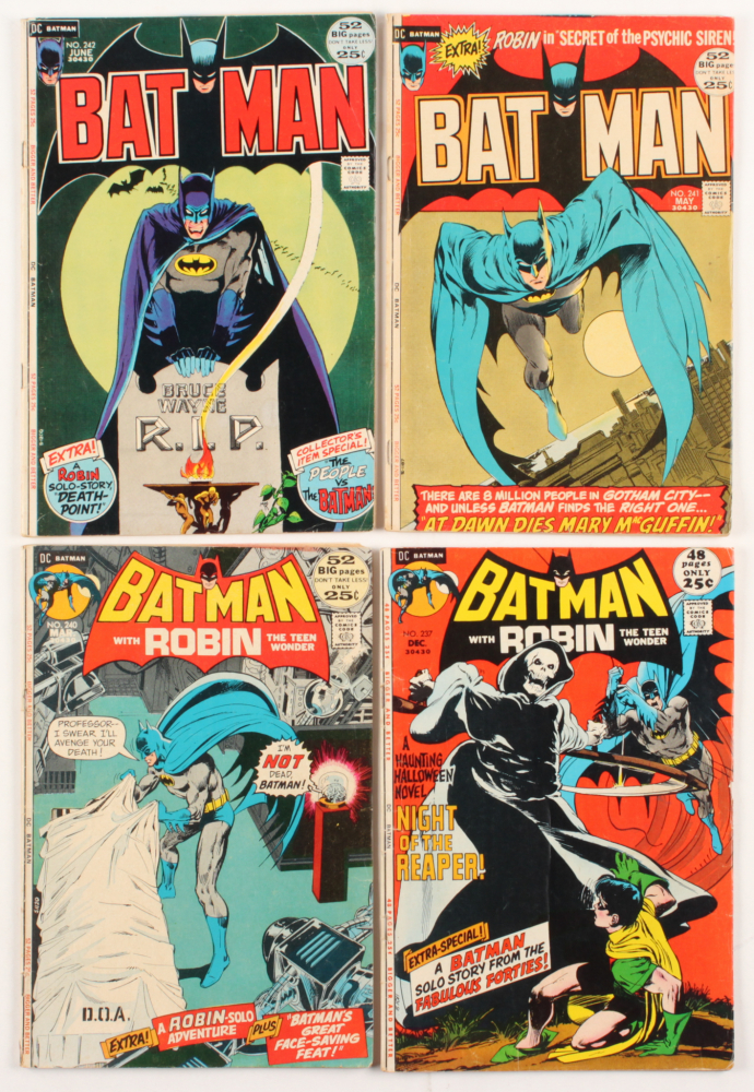 """Lot of (4) 1971-72 """"Batman"""" DC Comic Books with #237, #240, #241 & #242 at PristineAuction.com"""