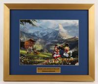 "Thomas Kinkade Walt Disney's ""Mickey and Minnie in the Alps"" 15.5x18 Custom Framed Print"