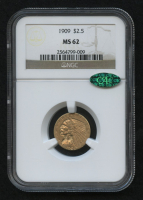 1909 $2.50 Indian Quarter Eagle Gold Coin (NGC MS 62) (CAC)