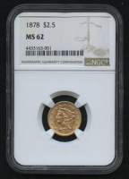 1878 $2.50 Liberty Head Half Eagle Gold Coin (NGC MS 62)