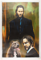"Hector Monroy Signed ""Keanu Reeves"" 27x40 Original Oil Painting on Canvas (PA LOA) at PristineAuction.com"