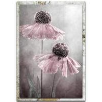 """""""Duet"""" 22x32x1 Modern Farmhouse Floral Art on Metal with Distressed Frame by Mandy Disher at PristineAuction.com"""