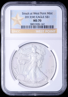 2013(W) American Silver Eagle $1 One Dollar Coin - Early Releases, Struck at West Point Mint (NGC MS70) (Gold Star Label)