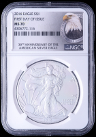 2016 American Silver Eagle $1 One Dollar Coin - First Day of Issue, 30th Anniversary (NGC MS70) (Eagle Label)