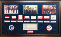 """United States Presidents"" 28x44 Custom Framed Cut Display Signed by (9) with Ronald Reagan, Richard M. Nixon, Gerald R. Ford, Jimmy Carter, Barack Obama (PSA LOA & JSA COA)"