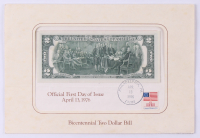1976 $2 Two-Dollar U.S. Federal Reserve Note First Day Cover Cachet