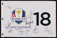 2018 Ryder Cup Golf Pin Flag Signed by (9) with Jordan Spieth, Phil Mickelson, Dustin Johnson, Jim Furyk (PSA LOA)