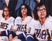 "Jeff Carlson, Steve Carlson & David Hanson Signed ""Slap Shot"" 16x20 Photo (Schwartz COA)"