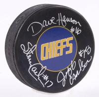 "Jeff Carlson, Steve Carlson, & David Hanson Signed ""Slap Shot"" Charlestown Chiefs Logo Hockey Puck (Schwartz COA)"