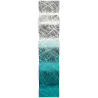 """""""Teal Fade Thatched Wave"""" 9.5x44x3 Modern Metal Art on Metal by Helena Martin at PristineAuction.com"""