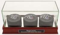 Mark Messier, Brian Leetch, & Mike Richter Signed New York Rangers 90th Anniversary Logo Hockey Pucks with Display Case (Steiner COA)