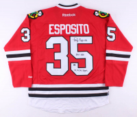 "Tony Esposito Signed Chicago Blackhawks Reebok Jersey Inscribed ""HOF 1988"" & ""70, 72, 74 Vezina"" (Schwartz COA)"