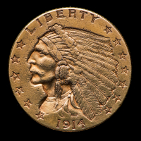 1914 $2.50 Indian Head Quarter Eagle Gold Coin