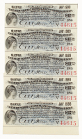 Uncut Sheet of (5) 1897 $17.50 Seventeen Dollars and Fifty Cents New York Central & Hudson River Railroad Company Bank Bonds at PristineAuction.com