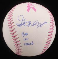 "Gavin Lux Signed Breast Cancer Awareness OML Baseball Inscribed ""2016 1st Round"" (PSA Hologram) at PristineAuction.com"