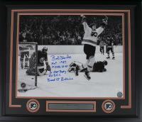 Bob Clarke Signed Philadelphia Flyers 22x27 Custom Framed Photo Display with (5) Inscriptions (JSA COA)